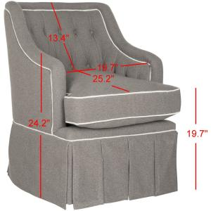Magnificent Safavieh Truitt Grey And White Polyester Swivel Arm Chair Creativecarmelina Interior Chair Design Creativecarmelinacom