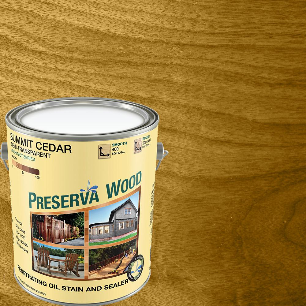Preserva Wood 1 gal. Semi-Transparent Oil-Based Summit Cedar Exterior Wood Stain