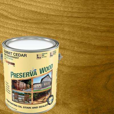 1 gal. Semi-Transparent Oil-Based Summit Cedar Exterior Wood Stain