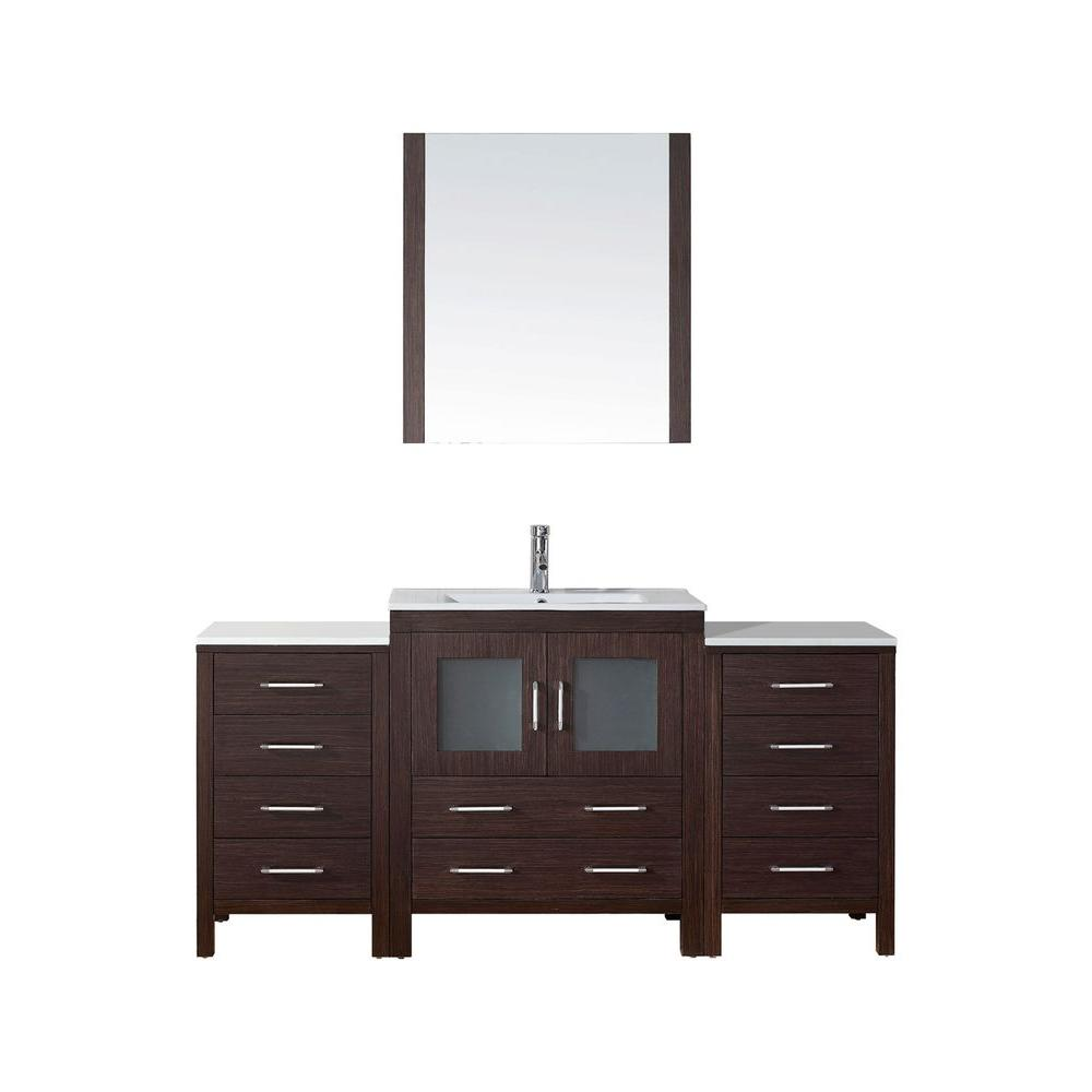 Virtu USA Dior 66 in. W x 18.3 in. D Vanity in Espresso with Ceramic Vanity Top in White with White Basin and Mirror