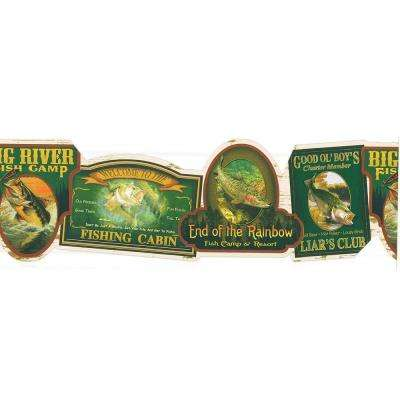 Northwoods Lodge Fishing Signs Wallpaper Border