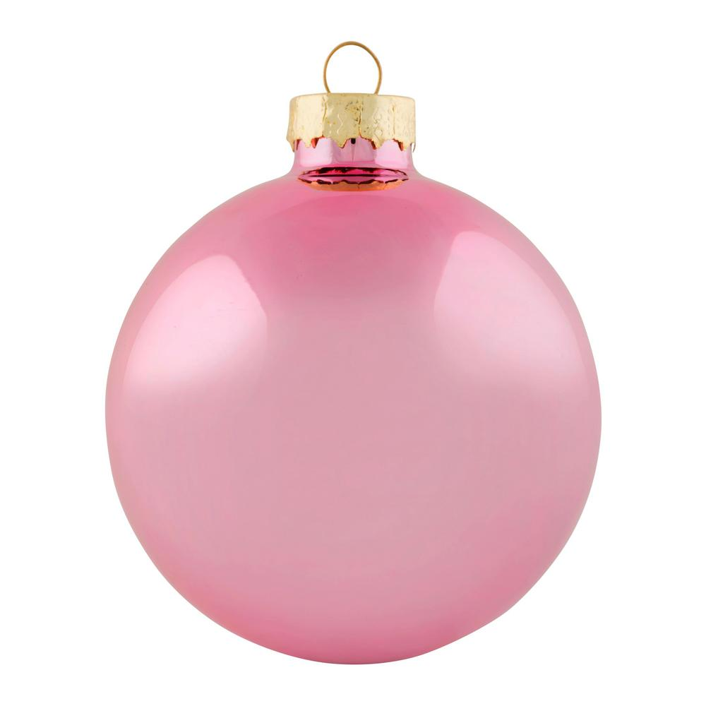 Pink Christmas Ornaments.Whitehurst 2 75 In Baby Pink Shiny Glass Christmas Ornaments 12 Pack