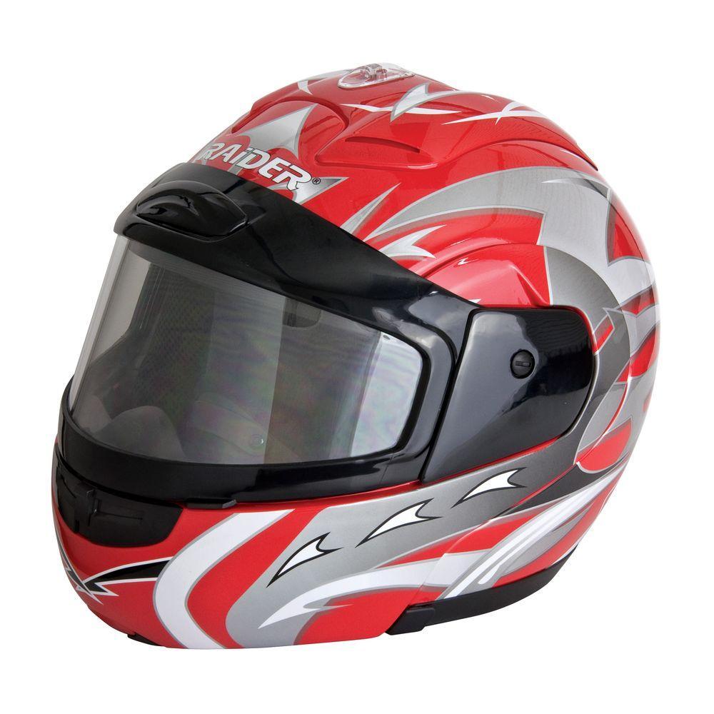 Raider Medium Adult Red Modular Snowmobile Helmet
