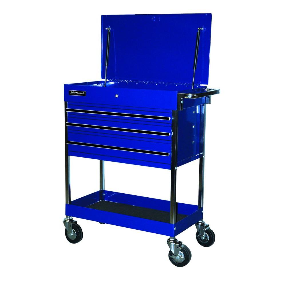 Homak Professional 34 in. 3-Drawer Service Carts in Blue