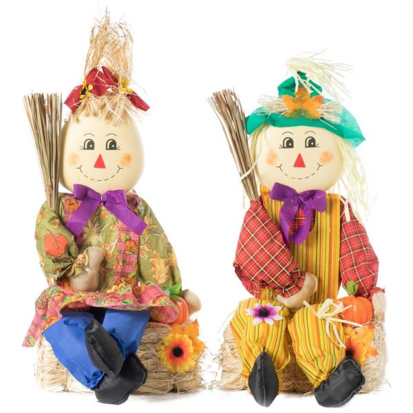 Garden Scarecrows Sitting on Hay Bale (Set of 2)