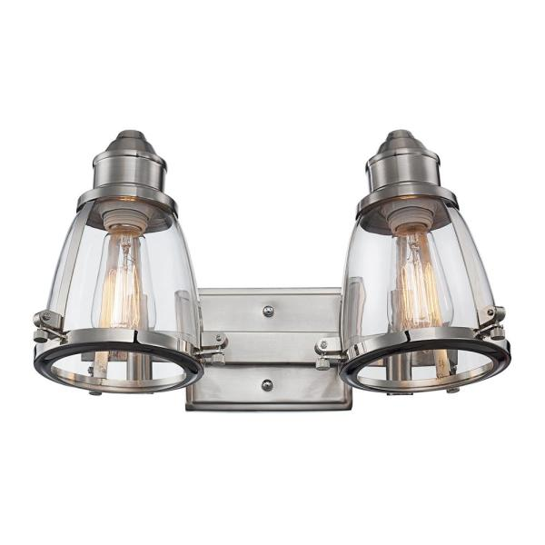 16 in. 2-Light Brushed Nickel Vanity Light with Clear Glass Shade