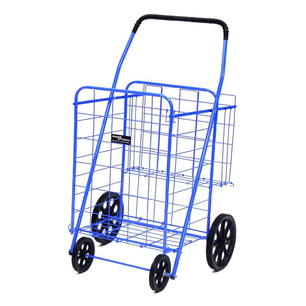 Easy Wheels Jumbo Plus Shopping Cart in Blue The Easy Wheels Jumbo Plus Shopping Cart has been the industry's premier cart with industrial strength for home use. When lying down, with the cart folded, the highest measurement is the wheels with a 9.75 in. Dia giving an incredible amount of convenience in a compact size. This model has an extra basket for additional storage. Color: Blue.