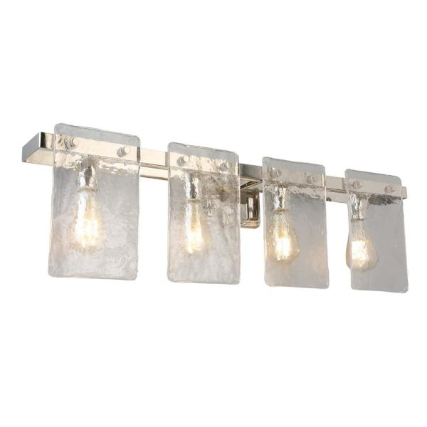 Wolter 4-Light Polished Nickel Vanity Light with Clear Sculpted Glass Shades