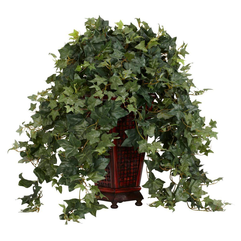 null 34 in. H Green Vining Puff Ivy with Decorative Vase Silk Plant
