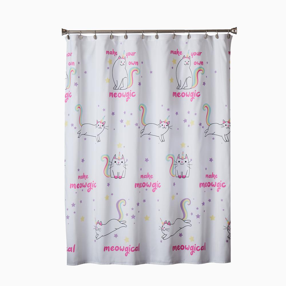 Meowgic 72 in. Multi Shower Curtain