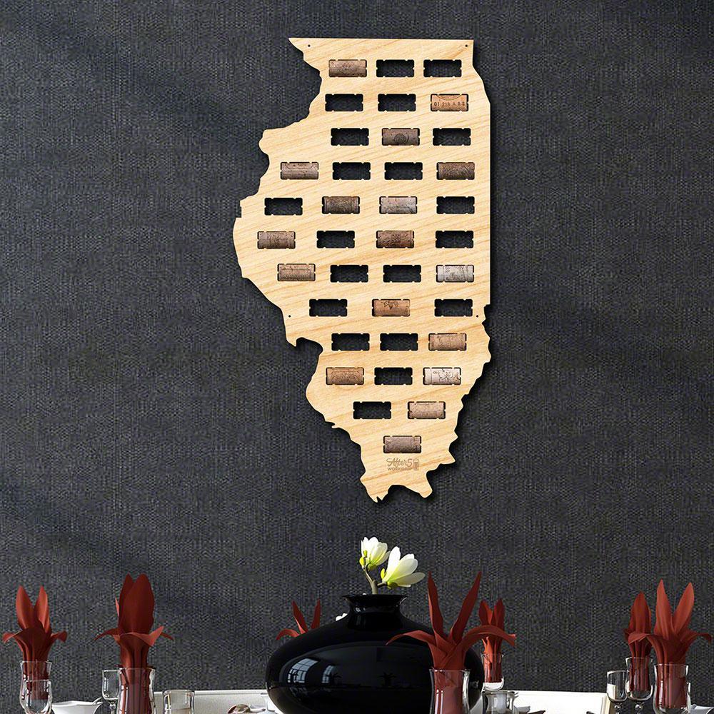 13.1 in. x 23.5 in. Illinois Wine Cork Map