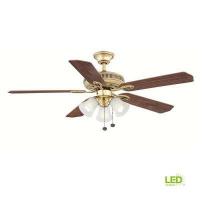 Glendale 52 in. LED Indoor Flemish Brass Ceiling Fan with Light Kit