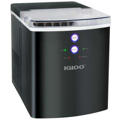 33 lb. Portable Countertop Ice Maker in Black Stainless Steel