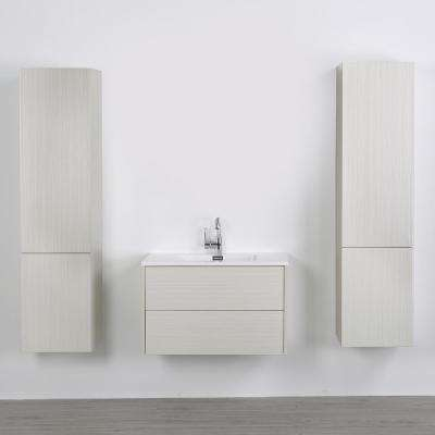 31.5 in. W x 19.3 in. H Bath Vanity in Gray with Resin Vanity Top in White with White Basin