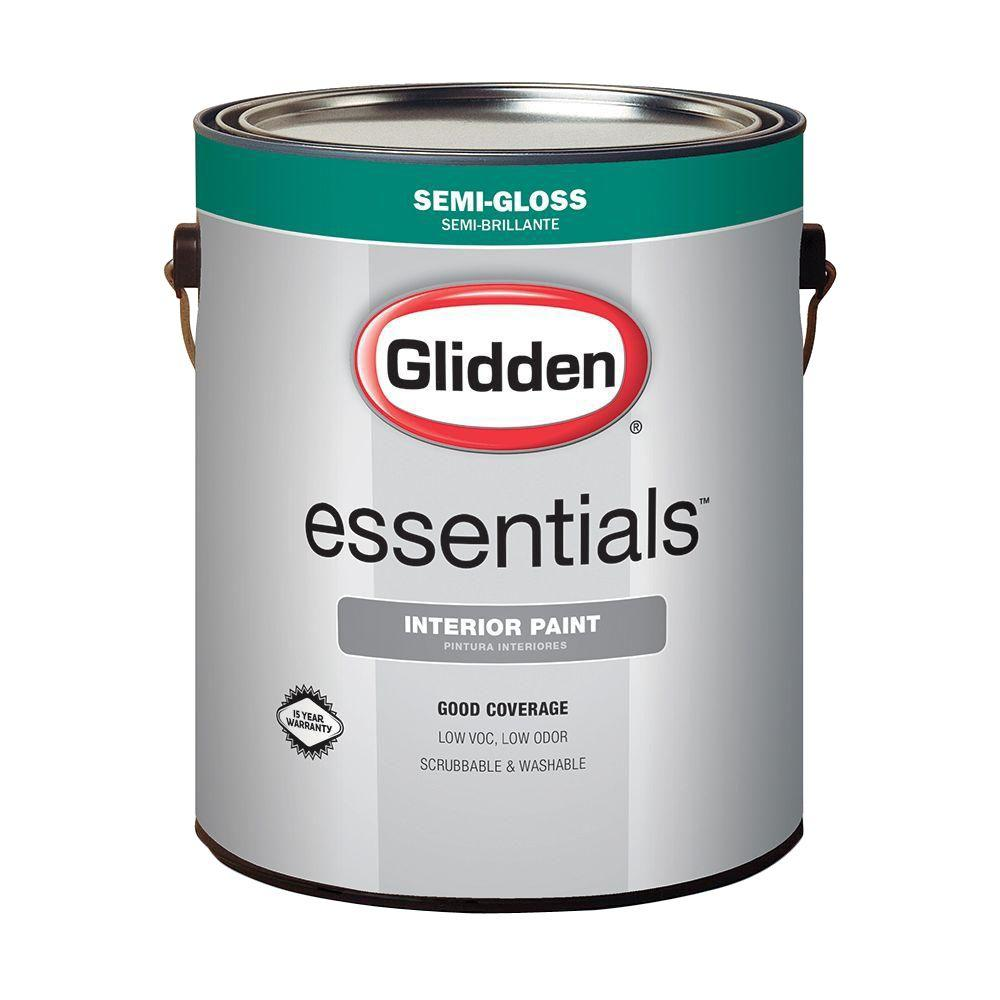 Glidden Essentials 1 gal. White Semi-Gloss Interior Paint-GLE-3000 ...
