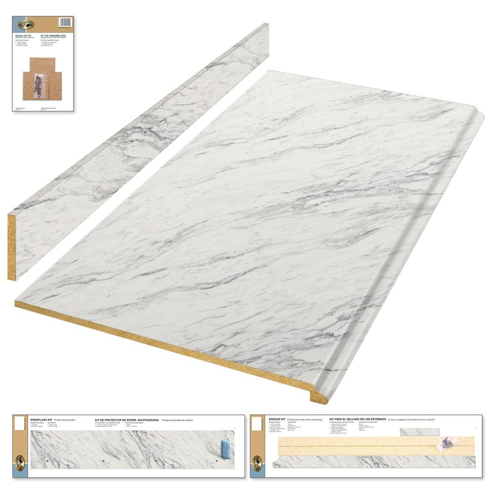 Bay Countertops #26 - Hampton Bay 4 Ft. Laminate Countertop Kit In Calcutta Marble With Premium  Textured Gloss Finish