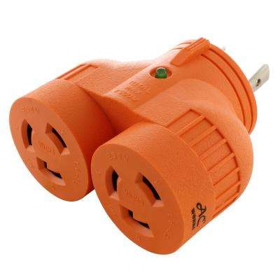 AC WORKS™ Industrial V-Duo Outlet Adapter L6-30P 30 Amp 250-Volt 3-Prong Locking Plug to (2) L6-30R Female Connectors