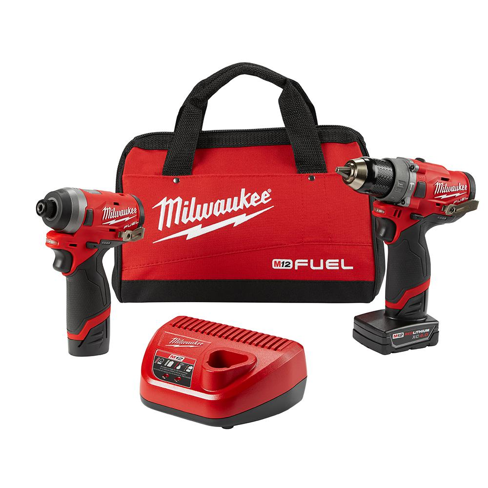 Milwaukee M12 FUEL 12-Volt Lithium-Ion Brushless Cordless Hammer Drill and Impact Driver Combo Kit (2-Tool) w(2) Batteries & Bag