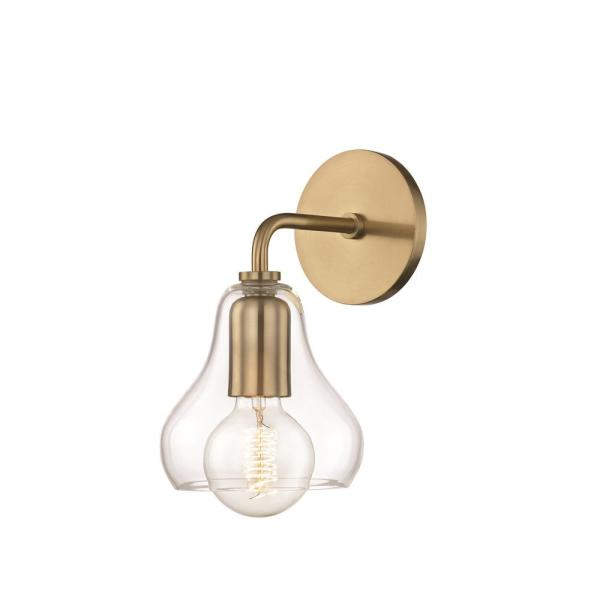 Sadie 1-Light Aged Brass Small Wall Sconce with Clear Glass