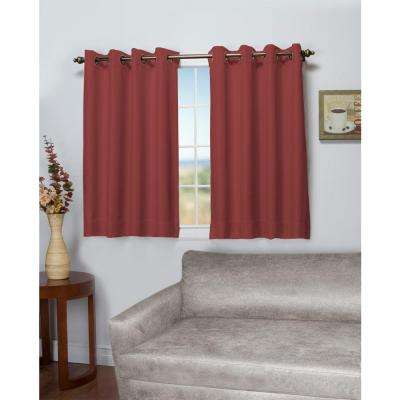 Tacoma 50 in. W x 45 in. L Polyester Double Blackout Grommet Window Panel in Floral Rose Red