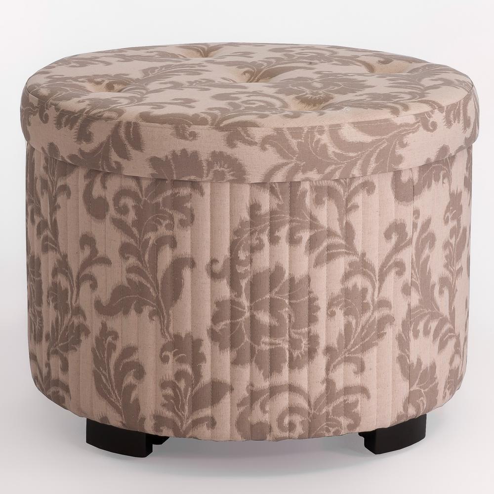 Ottomans Dakota Ottoman Box Oak Shade: Noble House Amigo Beige Floral Fabric Shoe Storage Ottoman