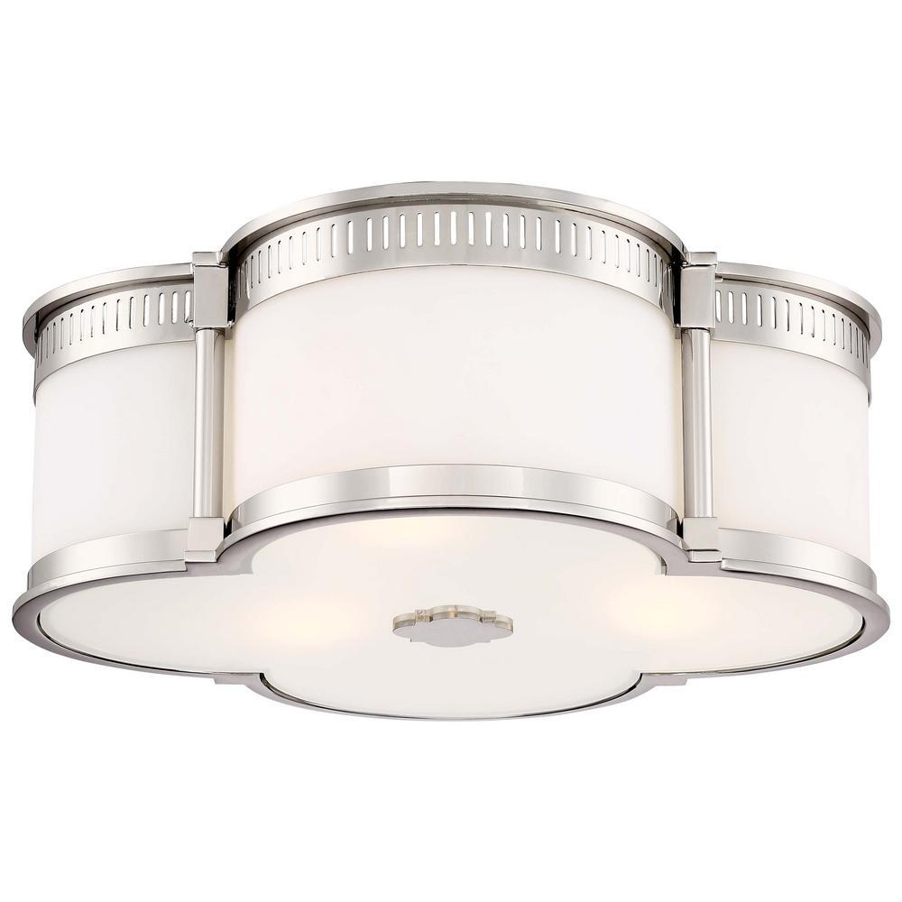 3-Light Polished Nickel Finish Flush Mount with White Glass