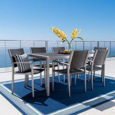 Cape Coral Gray 7-Piece Aluminum Outdoor Dining Set with Grey Wicker Top