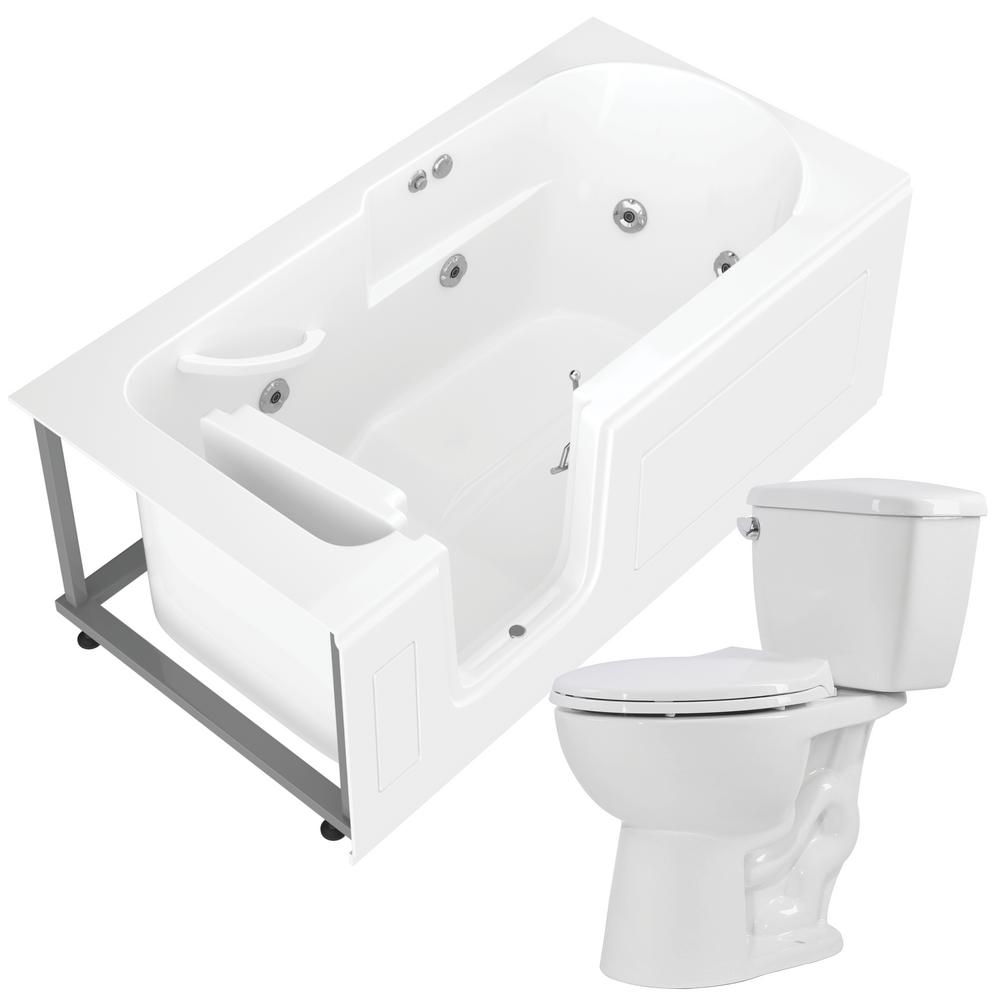 Universal Tubs Nova Heated Step In 59.6 in. Walk-In Whirlpool Bathtub in White with 1.28 GPF Single Flush Toilet was $3407.99 now $2555.99 (25.0% off)