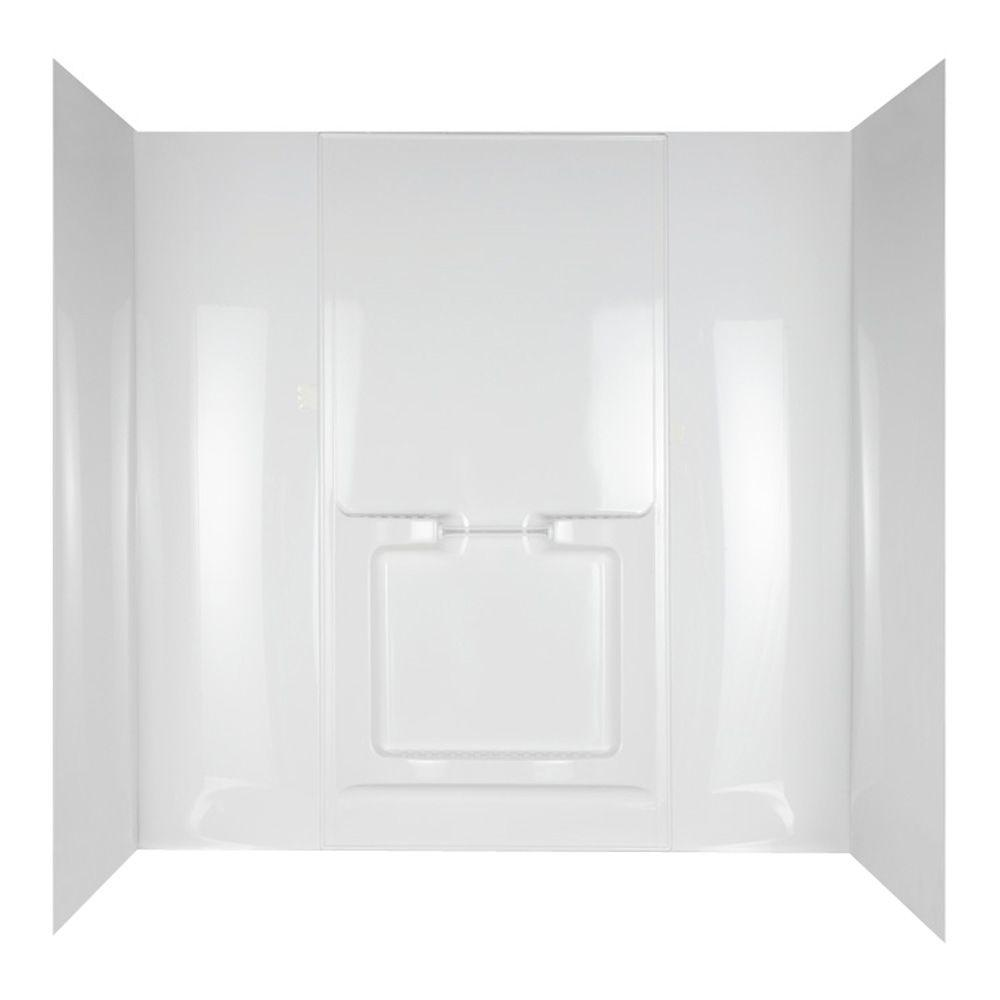 null Allura 31 in. x 60-1/2 in. x 58 in. 5-Piece Easy Up Adhesive Tub Wall in White