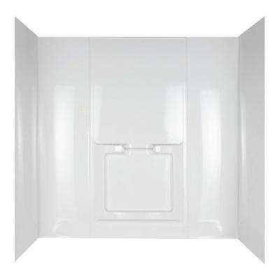 Allura 31 in. x 60-1/2 in. x 58 in. 5-Piece Easy Up Adhesive Tub Wall in White