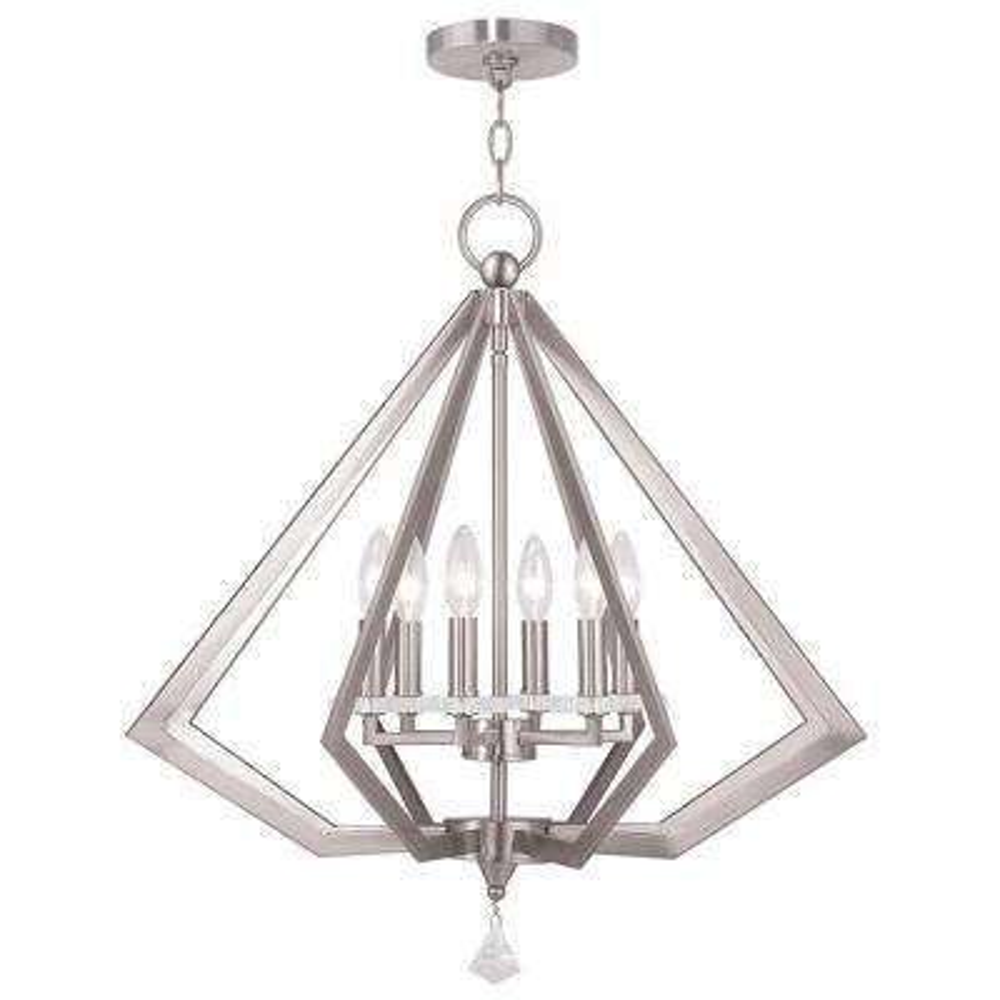 Diamond 6-Light Brushed Nickel Chandelier