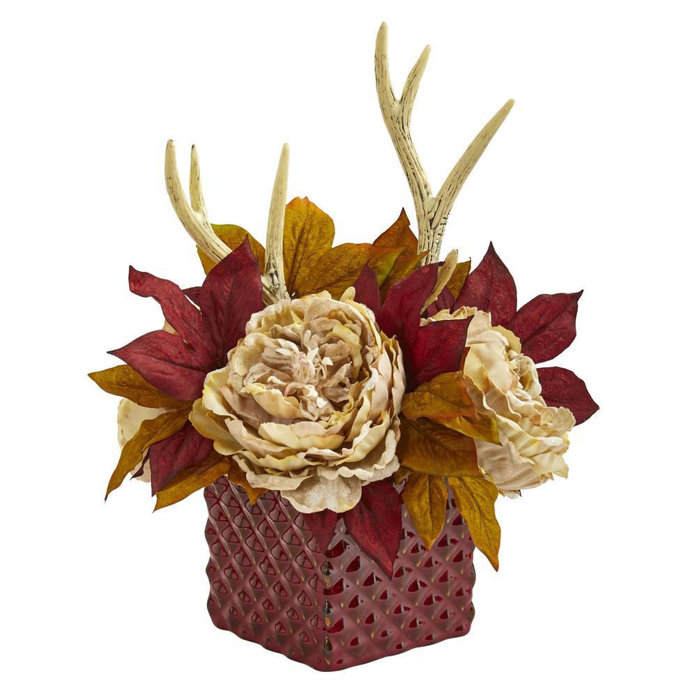Indoor Peony and Antlers Artificial Arrangement in Red Vase