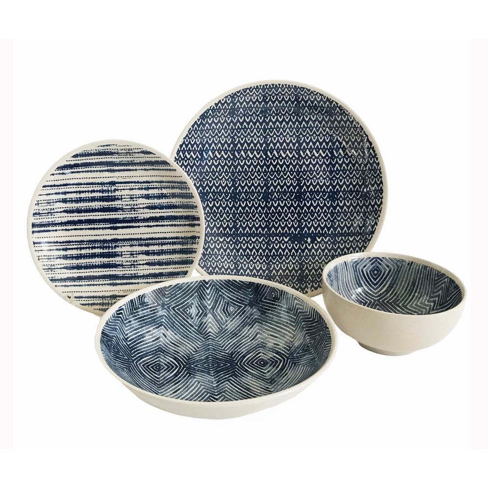 BAUM Dalton 16-Piece Blue Dinnerware Set-DAL16B - The Home Depot
