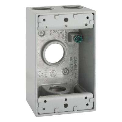 Gray 1-Gang Weatherproof Box with Four 3/4 in. Threaded Outlets