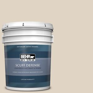 Behr Ultra 5 Gal Pwn 42 Parisian Taupe Extra Durable Satin Enamel Interior Paint Primer 775005 The Home Depot