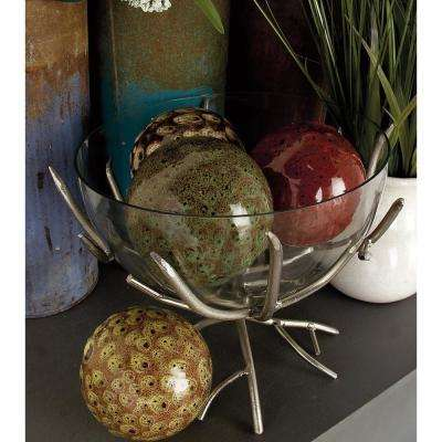 4 in. Dia Cherry Red, Green, Brown and Tan Organic-Style Ceramic Decorative Balls (Set of 4)