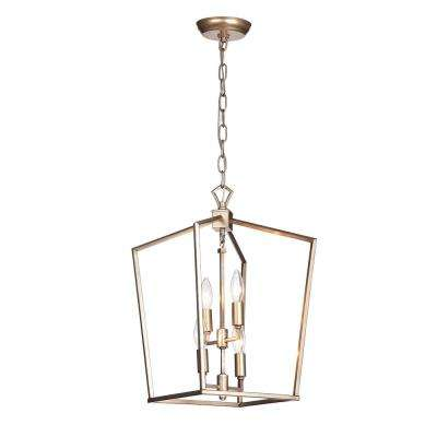 Maiara 4-Light Light Brown Chandelier with Metal