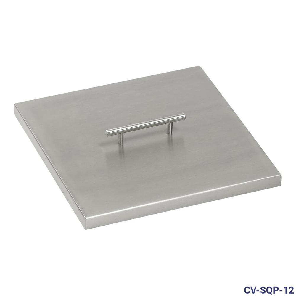 12 in. Stainless Steel Cover Square Drop-In Fire Pit Pan