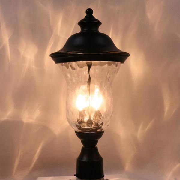 10 In 1 Light Imperial Black Outdoor Post Light Clear Water Glass El180707 Mp The Home Depot
