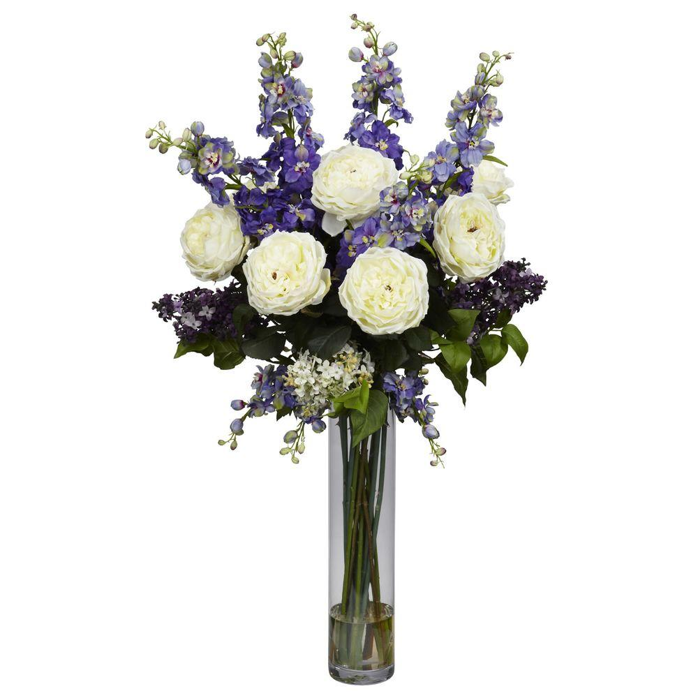 38 in h purple rose delphinium and lilac silk flower arrangement h purple rose delphinium and lilac silk flower arrangement mightylinksfo Image collections