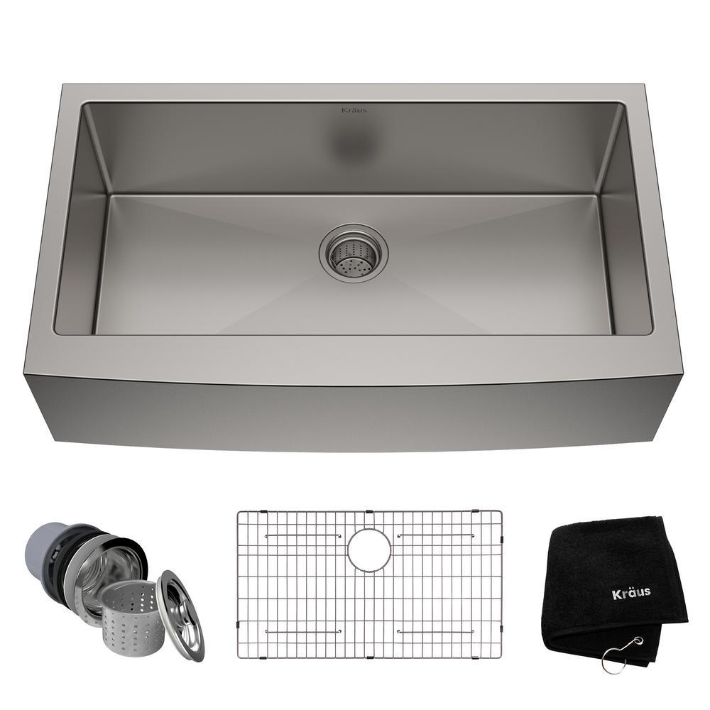KRAUS Standart PRO Farmhouse Apron-Front Stainless Steel 36 in. Single Bowl Kitchen Sink