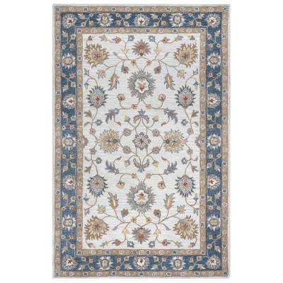 Valintino Taupe Border Oriental Hand Tufted Wool 8 Ft X 10 Area Rug