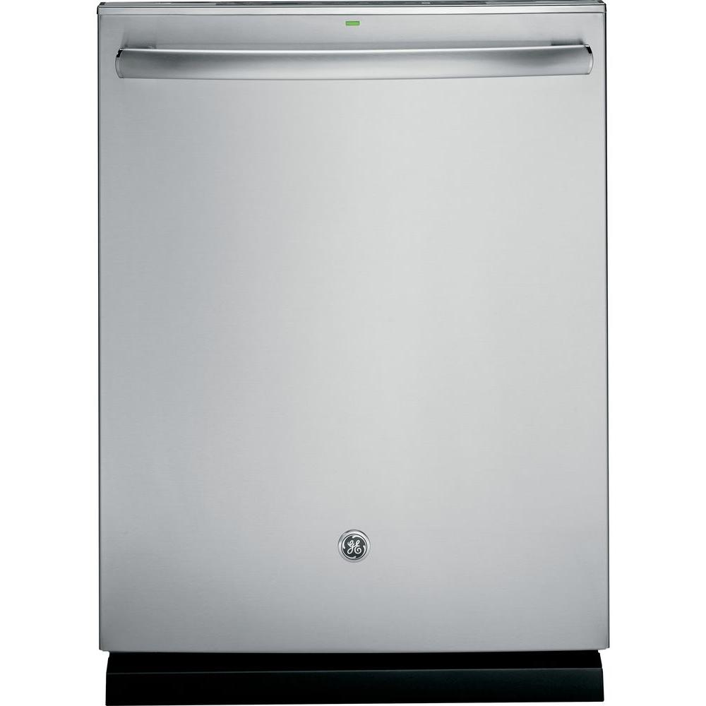 GE Top Control Dishwasher in Stainless Steel with Stainless Steel Tub and Steam Prewash