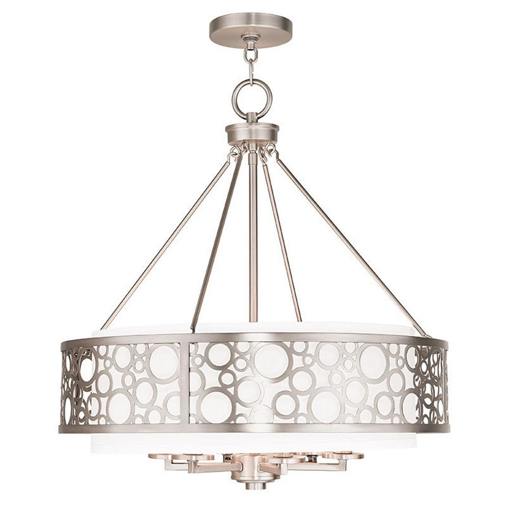 Livex Lighting Diamond 6 Light Brushed Nickel Chandelier