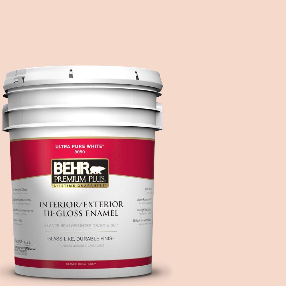BEHR Premium Plus 5-gal. #M200-1 Peach Sachet Hi-Gloss Enamel Interior/Exterior Paint