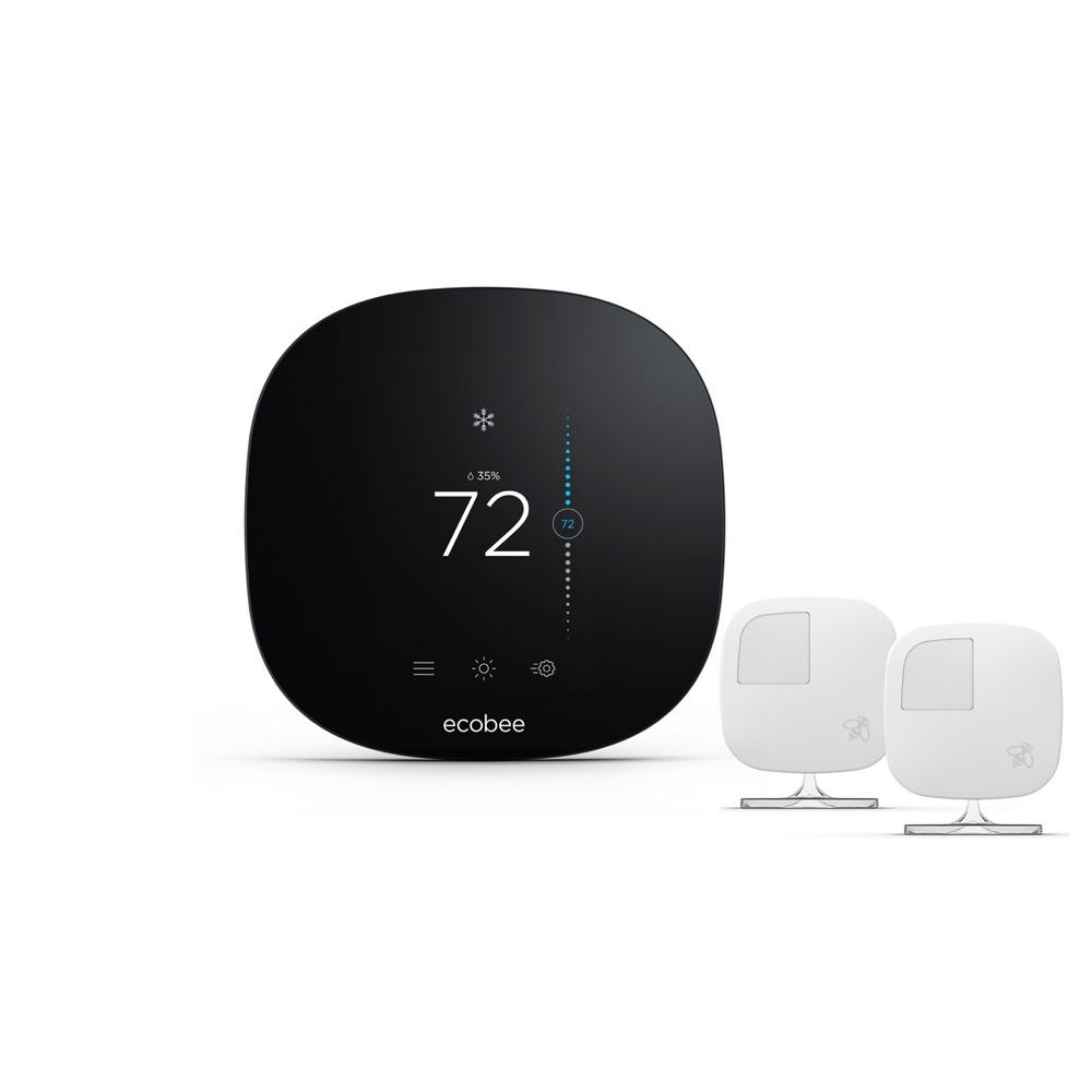Ecobee 3 Lite 7-Day Programmable Smart Thermostat + 2-Pack ecobee Remote Sensor
