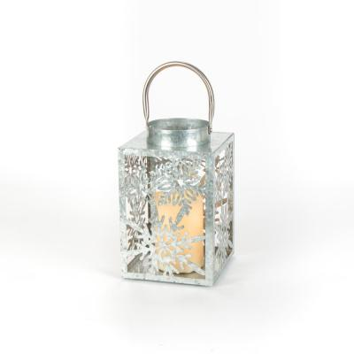 Ashford Meadows 9 in. Galvanized Silver Lantern with a 3 in. x 6 in. Battery Operated Candle