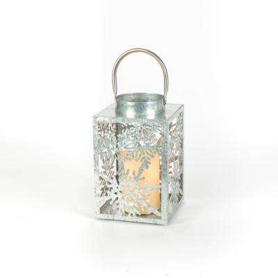 9 in. Galvanized Silver Lantern with a 3 in. x 6 in. Battery Operated Candle
