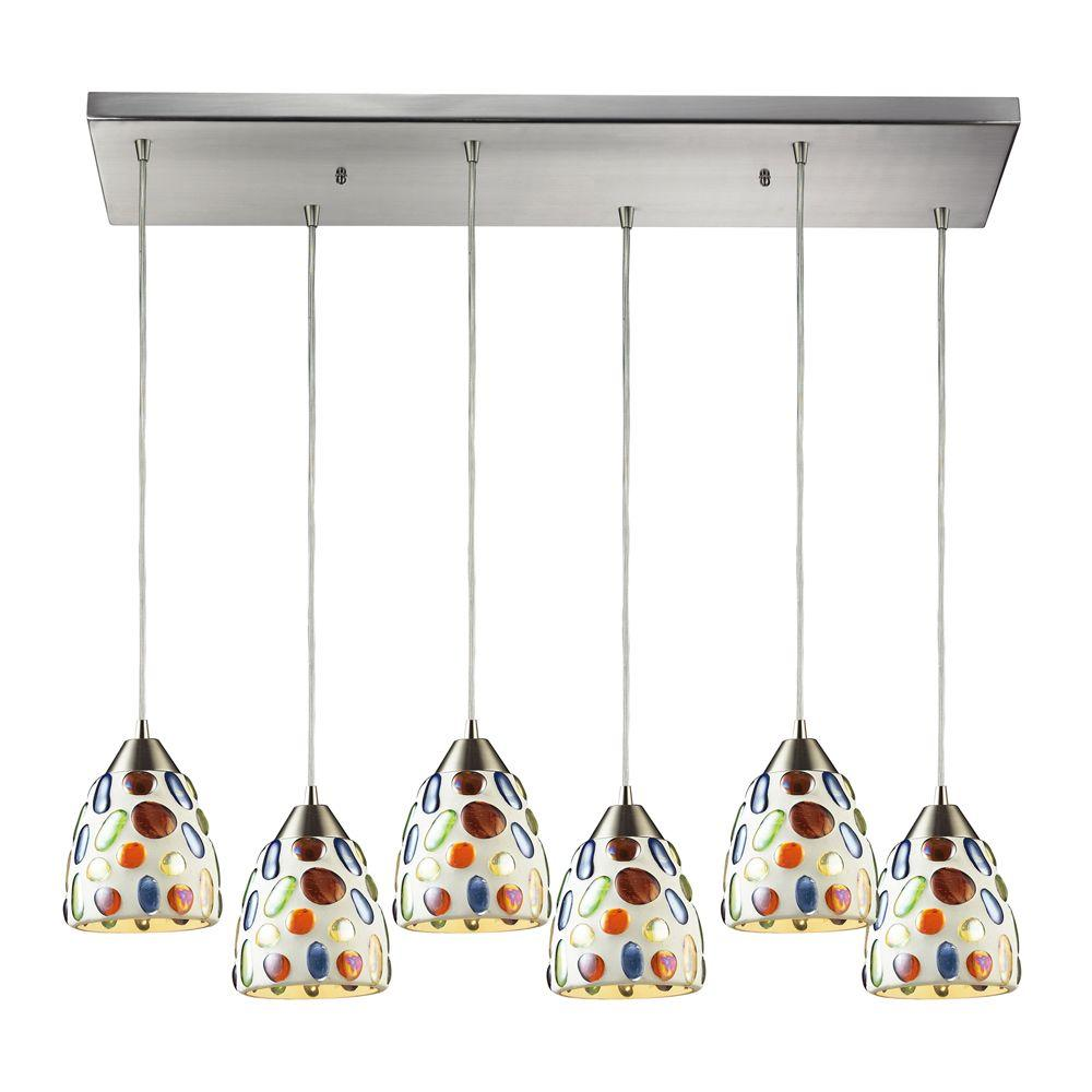 Gemstones 6-Light Satin Nickel Ceiling Mount Pendant