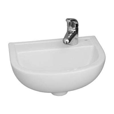 Compact 15 in. Wall-Mounted Bathroom Sink in White